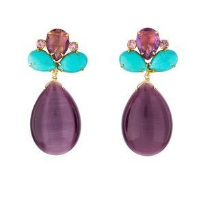 Bounkit Amethyst, & Turquoise Drop Earrings